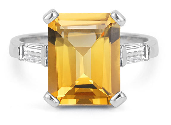 5 Carat Emerald-Cut Citrine and Diamond Ring in 14K White Gold