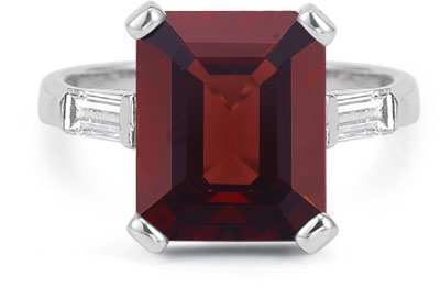5 Carat Emerald-Cut Garnet and Baguette Diamond Ring, 14K White Gold