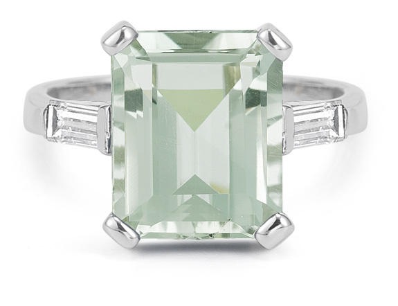 5 Carat Emerald-Cut Green Amethyst Baguette Diamond Ring in 14K White Gold