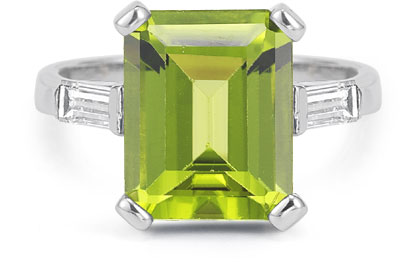 Emerald-Cut 5 Carat Peridot and Baguette Diamond Ring in 14K White Gold