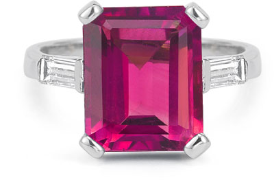 5 Carat Emerald-Cut Pink Topaz Baguette Diamond Ring, 14K White Gold