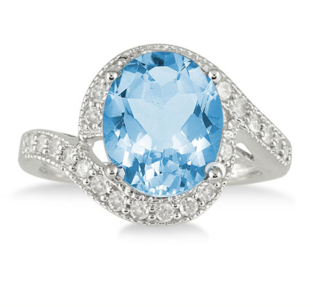 5 Carat Blue Topaz and Diamond Ring, 10K White Gold