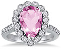 5 Carat Pear Pink Topaz Diamond Halo Ring, 14K White Gold