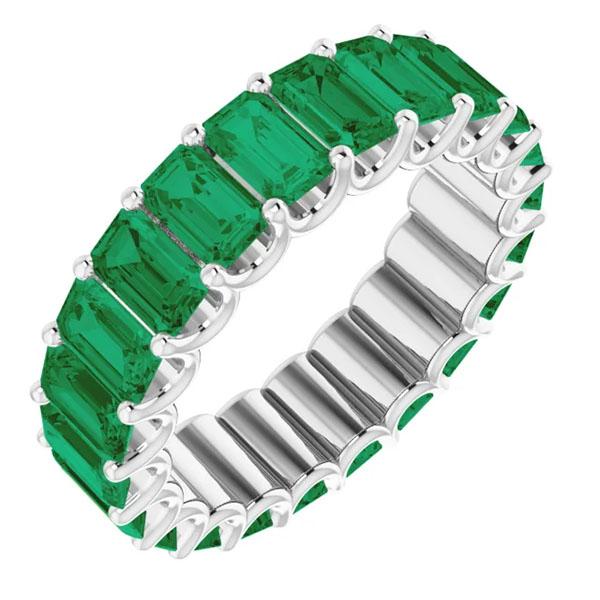 6 carat emerald-cut emerald eternity band