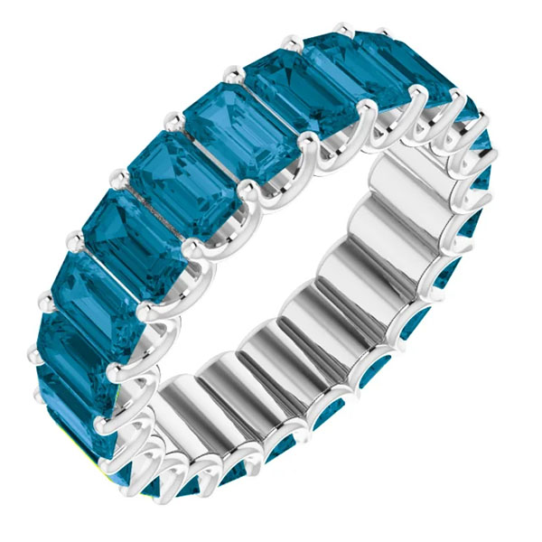 7-8 carat emerald-cut london blue topaz eternity band, 14k white gold