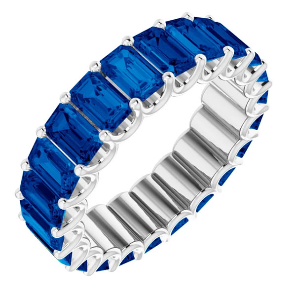 7-8 carat emerald-cut blue sapphire eternity band,
