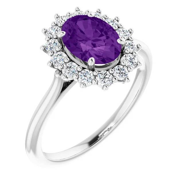 1.20 carat 8x6mm oval amethyst and 1/3 carat diamond halo ring