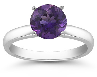 Amethyst Gemstone Solitaire Ring in 14K White Gold