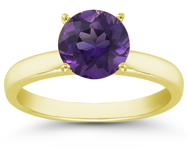 Amethyst Gemstone Solitaire Ring in 14K Yellow Gold