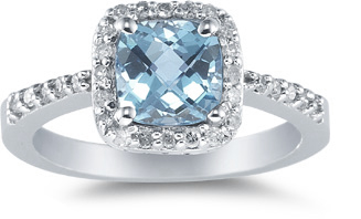 Cushion-Cut Aquamarine and Diamond Ring in 14K White Gold