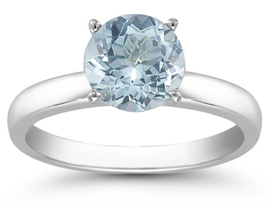 Aquamarine Gemstone Solitaire Ring in 14K White Gold
