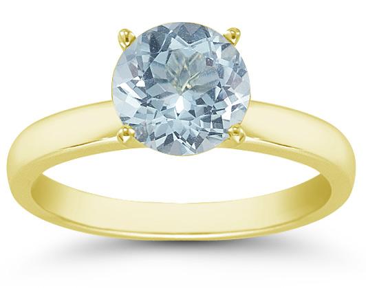 Aquamarine Gemstone Solitaire Ring in 14K Yellow Gold