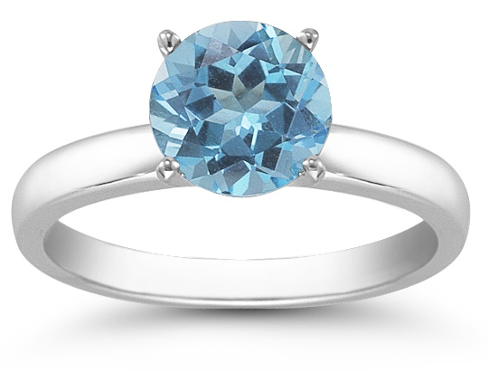Blue Topaz Gemstone Solitaire Ring in 14K White Gold