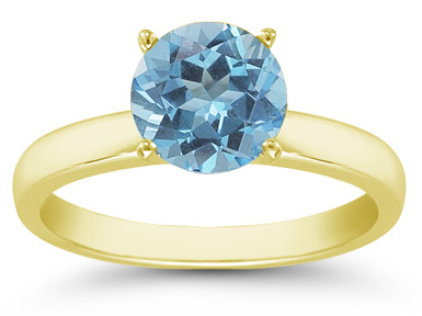 Blue Topaz Gemstone Solitaire Ring in 14K Yellow Gold