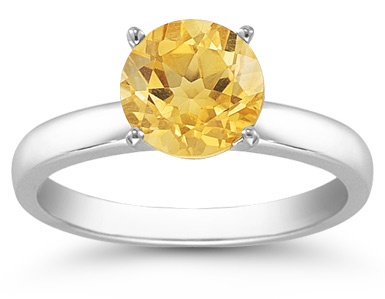 Citrine Gemstone Solitaire Ring in 14K White Gold