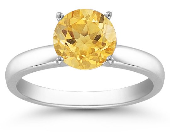 Citrine Gemstone Solitaire Ring in 14K White Gold