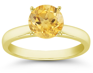 6mm Citrine Gemstone Solitaire Ring in 14K Yellow Gold