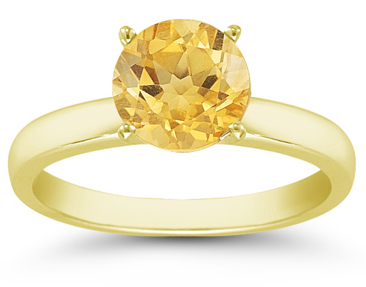 Citrine Gemstone Solitaire Ring in 14K Yellow Gold