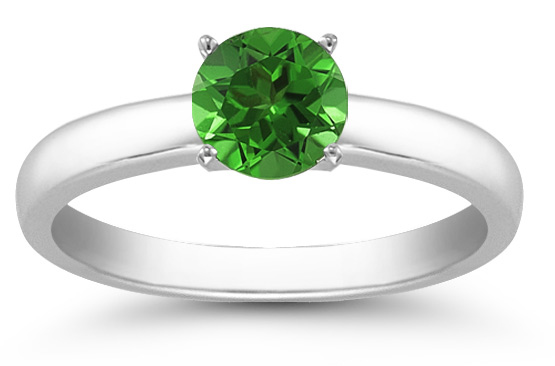 Emerald Gemstone Solitaire Ring in 14K White Gold