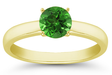 Emerald Gemstone Solitaire Ring in 14K Yellow Gold