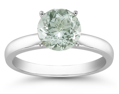 Green Amethyst Gemstone Solitaire Ring in 14K White Gold - FINAL SALE - Size 7 1/2