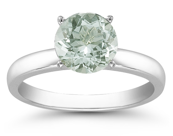 Green Amethyst Gemstone Solitaire Ring in 14K White Gold
