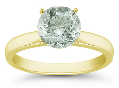 Green Amethyst Gemstone Solitaire Ring in 14K Yellow Gold