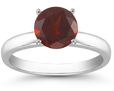 Garnet Gemstone Solitaire Ring in 14K White Gold