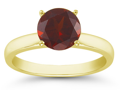 Garnet Gemstone Solitaire Ring in 14K Yellow Gold