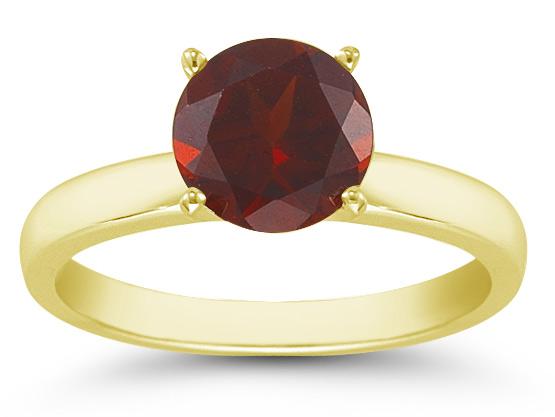 Garnet Gemstone Solitaire Ring in 14K Yellow Gold