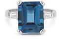 5 Carat Emerald-Cut London Blue Topaz and Diamond Ring