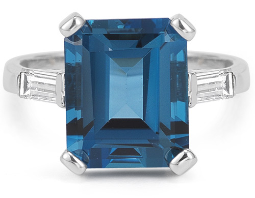 5.20 Carat Emerald-Cut London Blue Topaz and Diamond Ring (Rings, Apples of Gold)