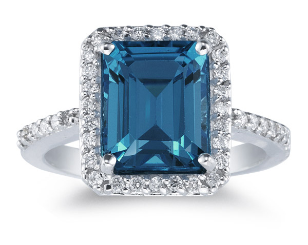 Emerald-Cut London Blue Topaz and Diamond Ring