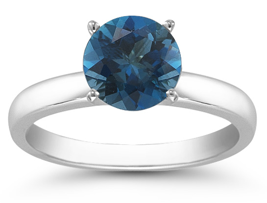 London Blue Topaz Gemstone Solitaire Ring in 14K White Gold