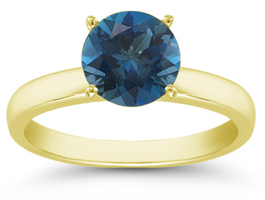 London Blue Topaz Gemstone Solitaire Ring in 14K Yellow Gold