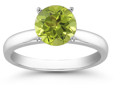 Peridot Gemstone Solitaire Ring in 14K White Gold