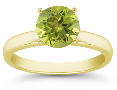 Buy Peridot Gemstone Solitaire Ring in 14K Yellow Gold