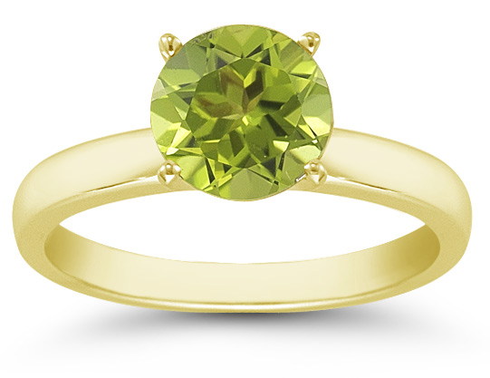 Peridot Gemstone Solitaire Ring in 14K Yellow Gold