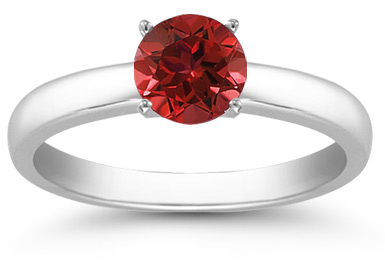 Buy Ruby Gemstone Solitaire Ring in 14K White Gold
