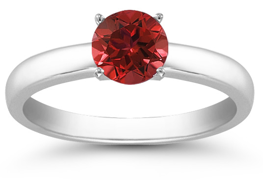 Ruby Gemstone Solitaire Ring in 14K White Gold