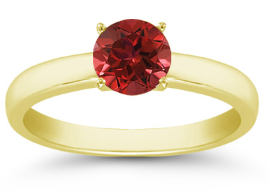Buy Ruby Gemstone Solitaire Ring in 14K Yellow Gold
