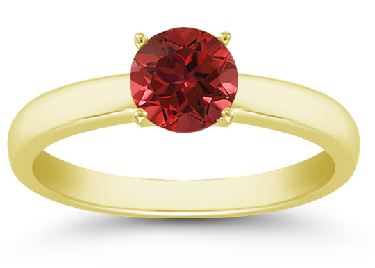 Ruby Gemstone Solitaire Ring in 14K Yellow Gold