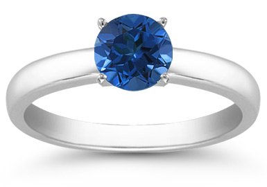 Sapphire Gemstone Solitaire Ring in 14K White Gold