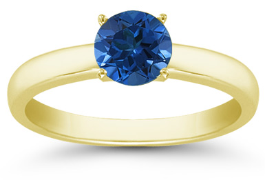 Buy Sapphire Gemstone Solitaire Ring in 14K Yellow Gold