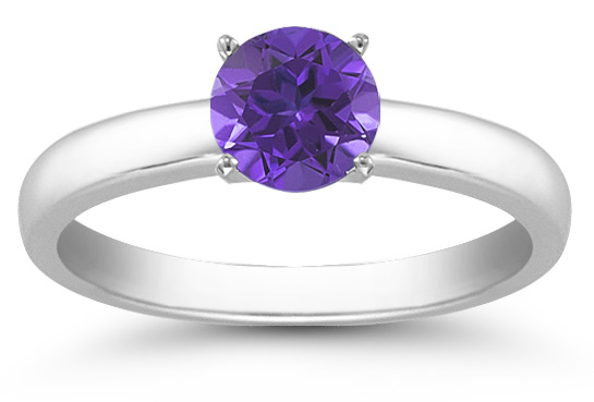 Tanzanite Gemstone Solitaire Ring in 14K White Gold