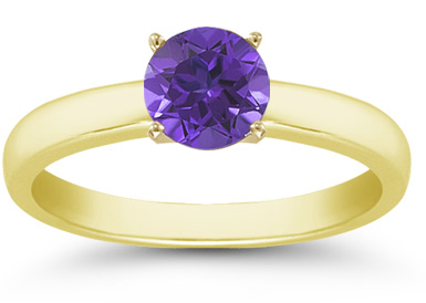 Tanzanite Gemstone Solitaire Ring in 14K Yellow Gold