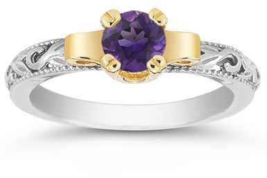 Art Deco Amethyst Engagement Ring, 1/2 Carat