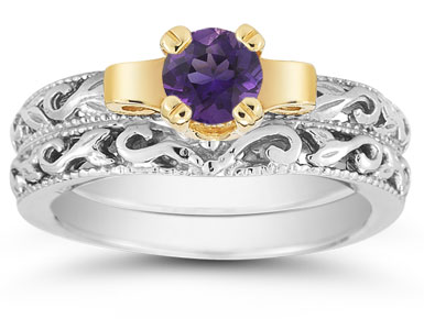 1/2 Carat Art Deco Amethyst Bridal Ring Set