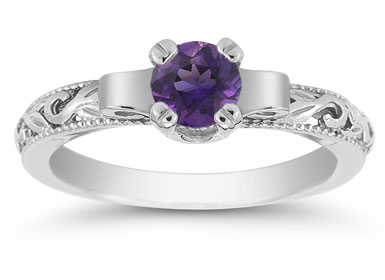 Art Deco Amethyst Engagement Ring, 14K White Gold