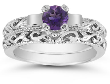 1/2 Carat Art Deco Amethyst Bridal Ring Set, 14K White Gold